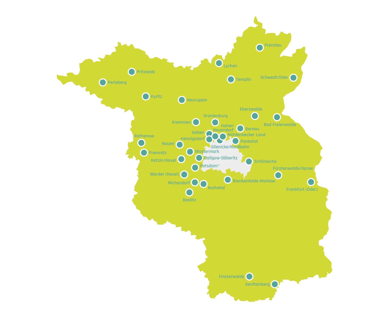 Karte von Brandenburg mit den 36 Bürgerbudget-Kommunen in 2020