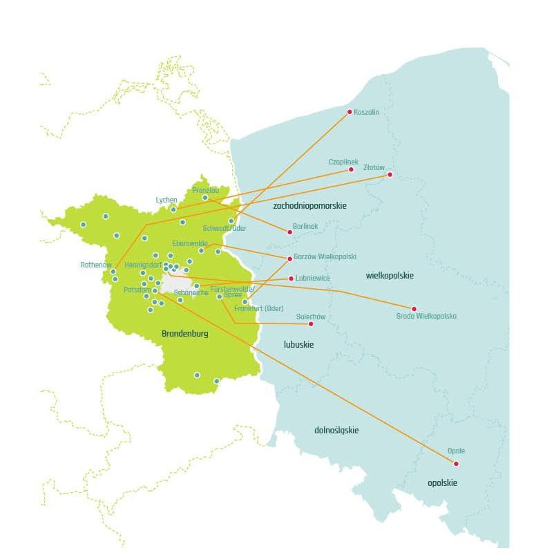 Karte von Brandenburg und Polen mit deutsch-polnischen Städtepartnerschaften mit Bürgerbudgets in beiden Städten.